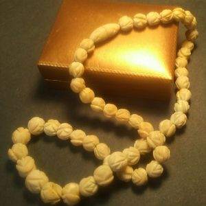 Antique Pre Ban Ivory Flower Beaded Necklace